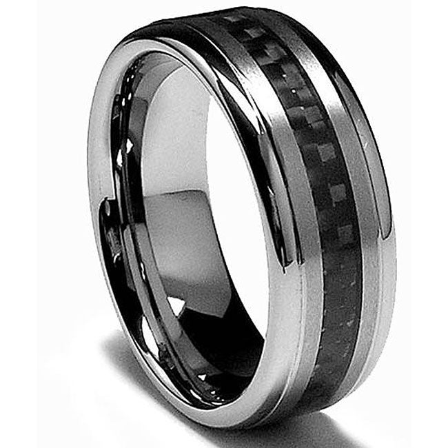 Men's Tungsten Carbide Black Carbon Fiber Inlay Band (8 mm) - Thumbnail 0