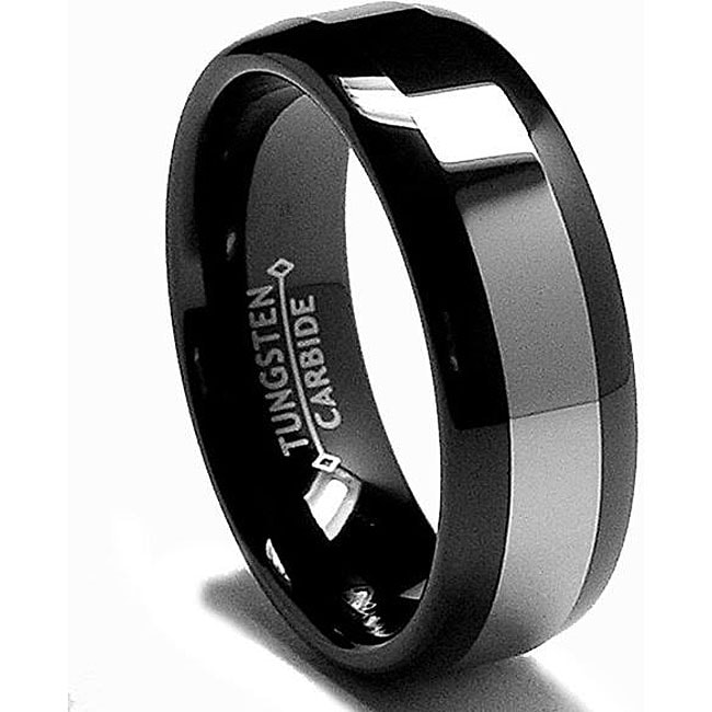 Men's Black-plated Tungsten Carbide Comfort Fit Band (8 mm) - Thumbnail 0