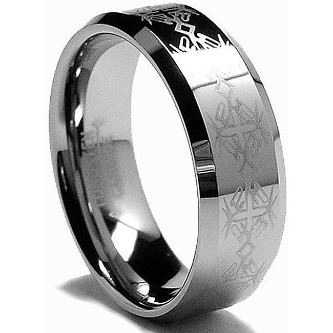 Men's Tungsten Carbide Laser-etched Band (8 mm) - Thumbnail 0
