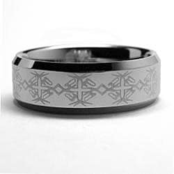 Men's Tungsten Carbide Laser-etched Band (8 mm) - Thumbnail 1