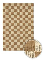 "Hand-Knotted Mandara Brown Checkerboard Rectangular Jute Rug (2'6"" x 7'6"")"
