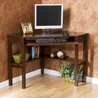 Havenside Home Horseshoe Espresso Wood Corner Computer Desk