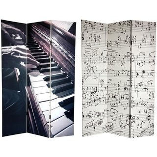 Handmade Canvas Double-sided 6-foot Music Room Divider (China)