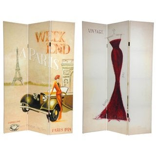 Handmade Canvas Double-sided 6-foot Vintage Weekend Paris Room Divider (China)