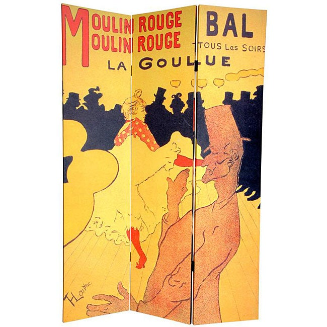 Canvas Double-sided 6-foot Moulin Rouge/ Bruant Room Divider (China)