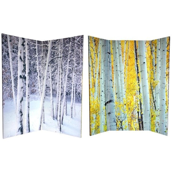 Handmade Canvas Double-sided 6-foot Aspen and Birch Trees Room Divider (China)