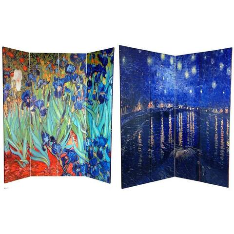 Canvas 6-foot Irises/ Starry Night over Rhone Room Divider (China)
