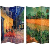Handmade Canvas 6-foot Cafe Terrace/ View of Arles Room Divider (China)