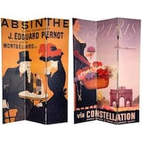Handmade Canvas Double-sided 6-foot Absinthe Room Divider (China) - 70.8 x 48