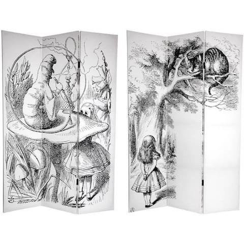 Handmade 6' Canvas Alice in Wonderland Room Divider