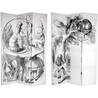 Handmade 6' Canvas Alice in Wonderland Room Divider