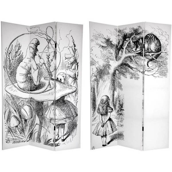 Handmade Canvas Double-sided 6-foot Alice in Wonderland Room Divider (China)