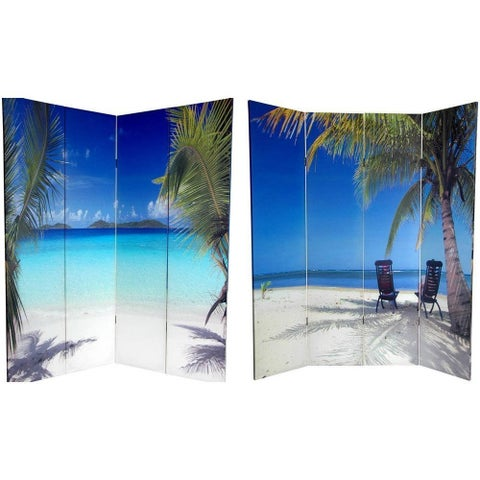 Handmade Canvas Double-sided 6-foot Ocean Room Divider (China)