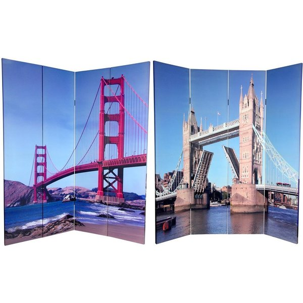 Handmade Canvas Double-sided 6-foot Bridges Room Divider (China)