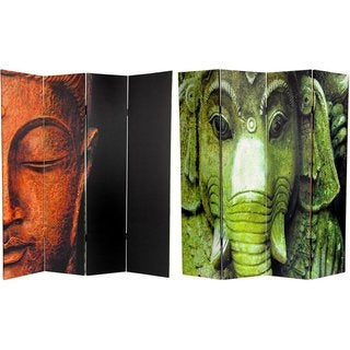 Handmade Canvas Double-sided 6-foot Buddha and Ganesh Room Divider (China)