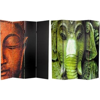 Canvas Double-sided 6-foot Buddha and Ganesh Room Divider (China)