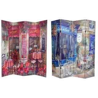 Handmade Canvas Double-sided 6-foot Parisian Cafe Room Divider (China)