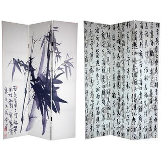 Handmade Canvas Double-sided 6-foot Bamboo Calligraphy Room Divider (China)