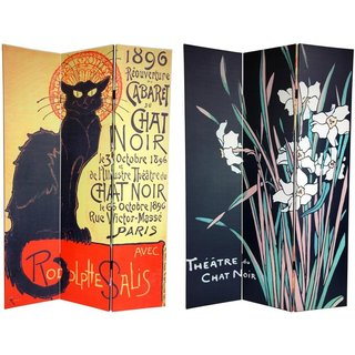 Handmade Canvas Double-sided 6-foot Chat Noir Room Divider (China)