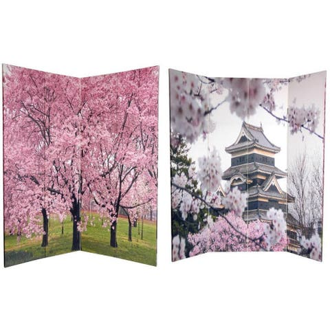 Handmade 6' Canvas Cherry Blossoms Room Divider