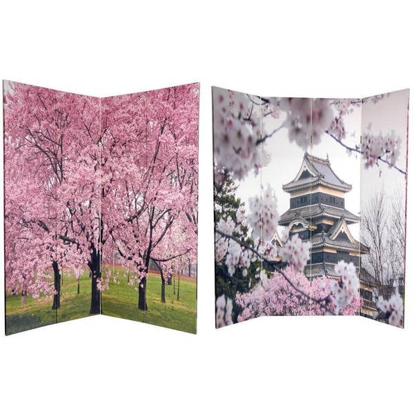 Canvas Double-sided 6-foot Cherry Blossoms Room Divider (China)