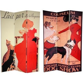 Handmade Canvas Double-sided 6-foot Dogs and Cats Room Divider (China)