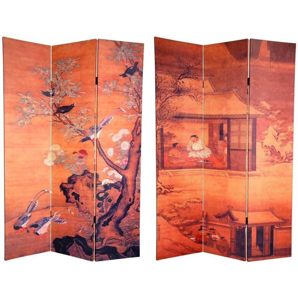 Oriental FURNITURE Canvas Double-sided 6-foot Chinese Lan...
