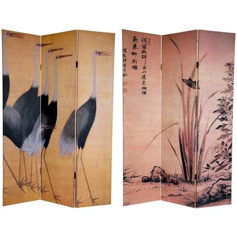 Handmade Canvas Double-sided 6-foot Cranes Room Divider (China)