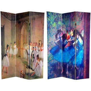 Handmade Canvas Double-sided 6-foot Dancers Works of Degas Room Divider (China)