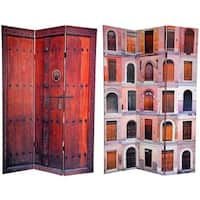 Handmade Canvas Double-sided 6-foot Doors Room Divider (China)