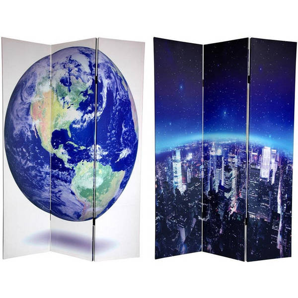 Handmade Double-sided 6-foot Earth Canvas Room Divider (China)