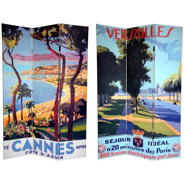 Handmade Canvas Double-sided 6-foot Cannes and Versailles Room Divider (China)