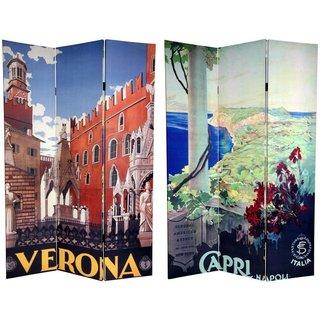 Handmade Canvas Double-sided 6-foot Capri and Verona Room Divider (China)