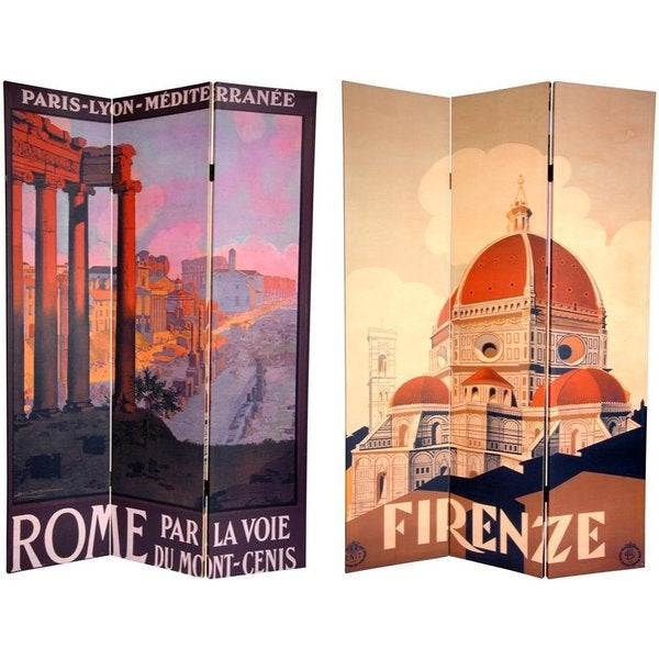 Handmade Canvas Double-sided 6-foot Rome and Firenze Room Divider (China)