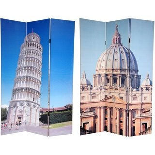 Double-sided 6-foot Pisa and St. Peter's Canvas Room Divider (China)