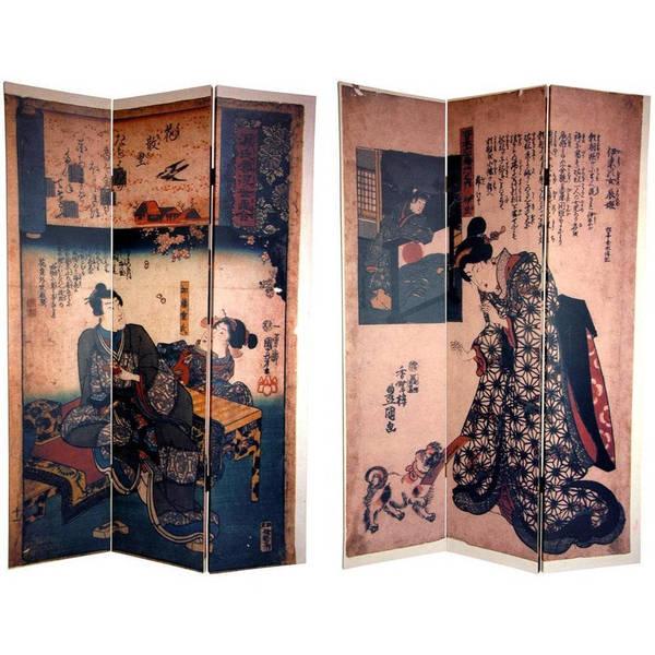 Handmade 6' Canvas Japanese Figures Room Divider
