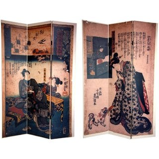 Handmade Canvas Double-sided 6-foot Japanese Figures Room Divider (China)