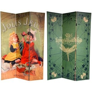Handmade Double-sided 6-foot Children's Stories Canvas Room Divider (China)