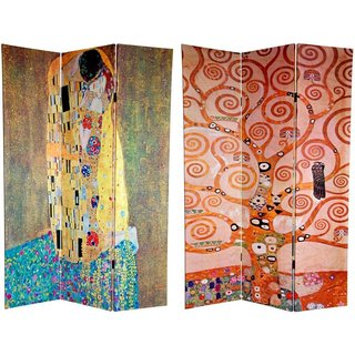 Handmade Canvas Double-sided 6-foot The Kiss/ Tree of Life Room Divider (China)