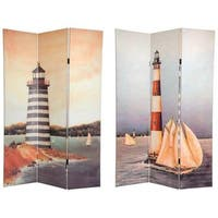 Handmade Canvas Double-sided 6-foot Lighthouses Room Divider (China)