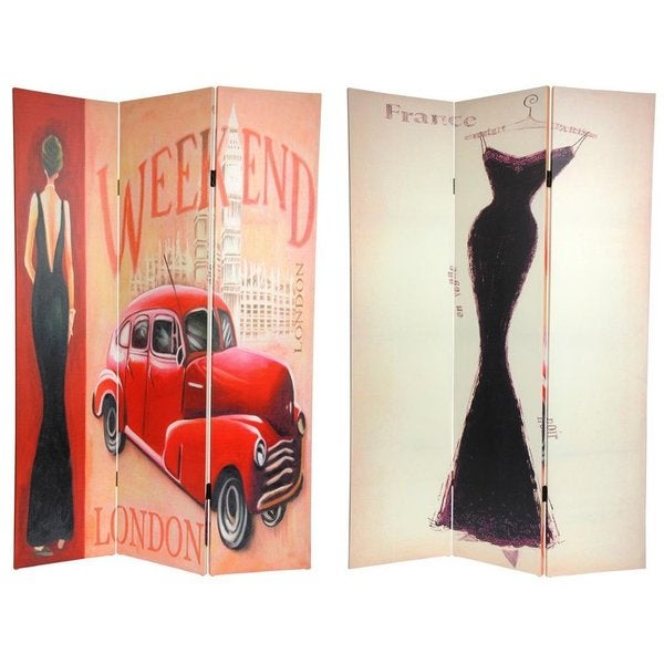 Handmade Canvas 6-foot Vintage Weekend and London Room Divider (China)