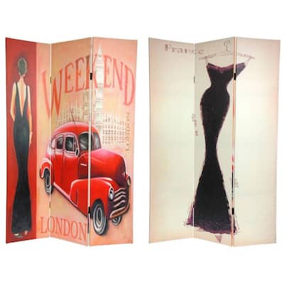 Handmade 6' Canvas Vintage Weekend and London Room Divider