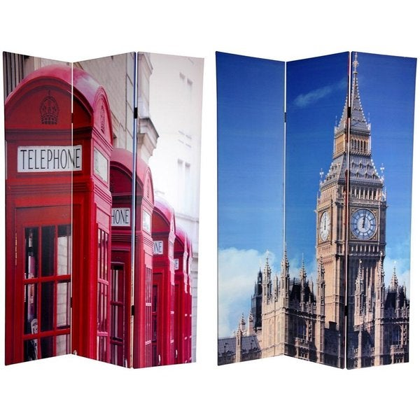 Handmade Canvas 6-foot Big Ben/ London Phone Booths Room Divider (China)