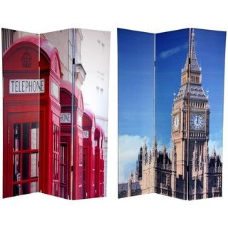 Handmade Canvas 6-foot Big Ben/ London Phone Booths Room Divider (China)