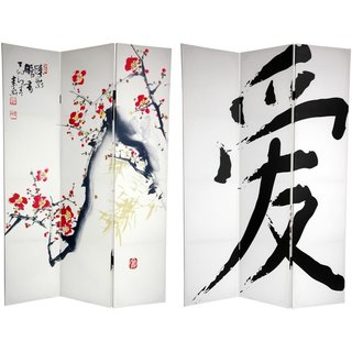 Handmade 6-Foot Tall Double Sided Cherry Blossoms and Love Canvas Room Divider (China)