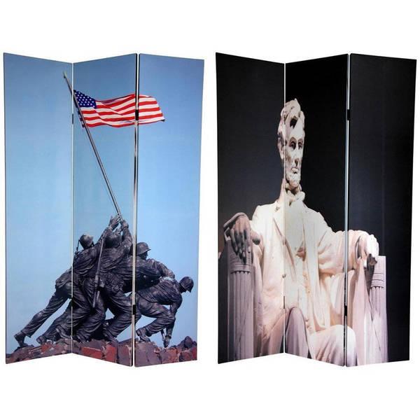 Handmade Double-sided 6-foot Lincoln/ Iwo Jima Memorial Room Divider (China)