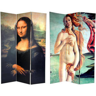 Canvas Double-sided 6-foot Mona Lisa and Botticelli Room Divider (China)