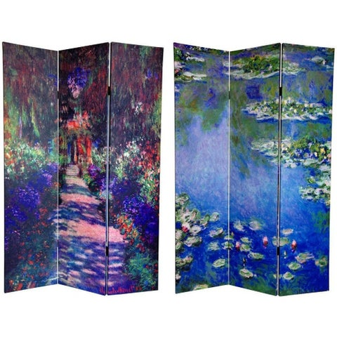 Handmade Canvas 6-foot Lilies/ Garden at Giverny Room Divider (China) - 70.8 x 48