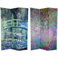 Handmade Canvas 6-foot Water Lily/ Garden Monet Room Divider (China) - 70.8 x 48