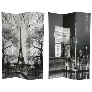 Handmade 6' Canvas Eiffel Tower and Arc de Triomphe Room Divider
